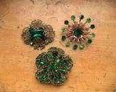 LOT Collection of 3 Green Rhinestone Brooches Vintage Emerald Green Filigree Pins Jewelry