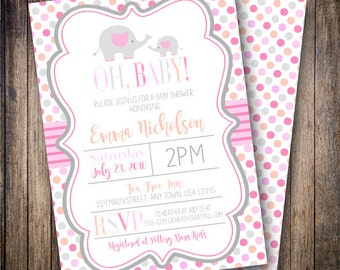 Polka Dot Mama and Baby Elephant Baby Shower Invitation, Girl Baby Shower Invite, Printable Baby Shower Invite - Shades of Pink & Coral