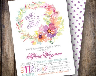Watercolor Baby Shower Invitation, It's a Girl, Floral Wreath Baby Shower Invite, Printable Baby Shower Invite - Watercolor Wreath in Purple