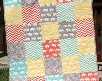 Organic Baby Quilt, Blue Coral Pink Grey Gray, Birch Fabric, Chevron Elephants, Modern Blanket, Chevron Crib Blanket Bedding, All Natural