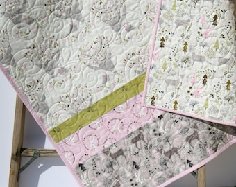 Girl Quilt, Baby Nursery Bedding, Handmade Quilt, Baby Bedding, Fawn Deer Bunnies, Pink Gray, Woodland Animals, Birch Forest Toddler Bedding