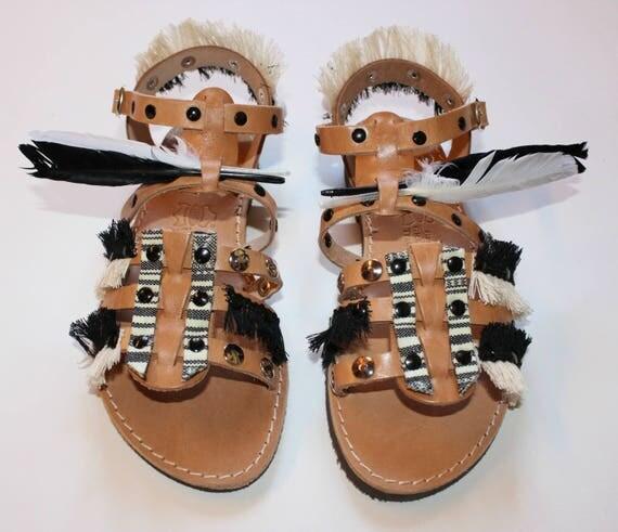 SALE 38 us 7-7.5Womens Sandals, Leather Sandals, Black Sandals, Flat Sandals, Women's gladiators, Gypsy sandals