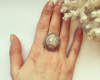 Vintage Silver Marble Stone Cabochon Statement Ring