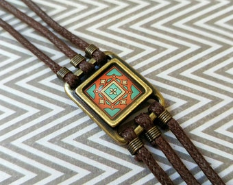 Spanish Tile Bracelet on Gold-Plated Brass and Brown Waxed Cotton Cord
