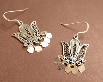 Sterling Silver Lotus Flower Scroll Work Filigree With Heart Drops Earrings