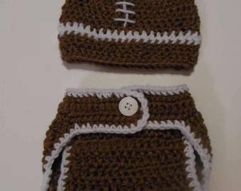 crochet diaper cover and hat, newborn, photo prop, baby shower gift, football diaper cover