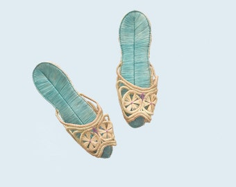1950s Rafia Slippers