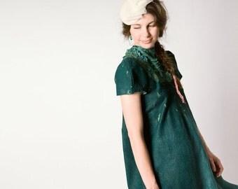 Felted Dress, Emerald Green Dress, Loose Dress, Oversized Dress, Spring Dress, Formal Long Dress, Floor Length Dress, Retro Wedding Dress