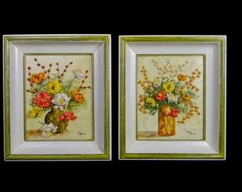 ANN PINE Pair of Framed Original Three Dimensional Mixed Media Oil & Eggshell Paintings Ann Pine, circa early 1970's