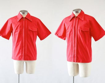 Vintage 1960's Red Shirt | Mr.California | Red Zip Up Shirt | Surfer, Hot Rod, Rockabilly, Garage | Size Medium