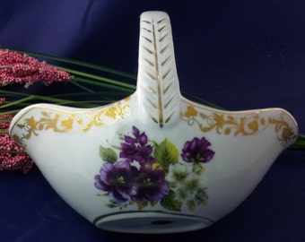 Vintage Decorative Handled Basket Dish With Purple Roses, 1996