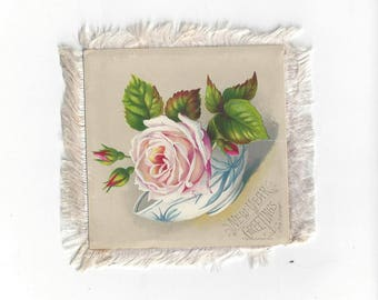 Vintage Victorian Fringed Double-Sided New Year's Greeting Card, 1832-1896