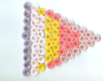 Dozen Mini Spiral Paper Flowers for Weddings, Bouquets, Events and Crafts