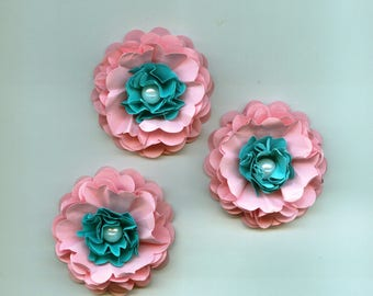Baby Girl Peony Paper Flowers in Light Pink and Aqua