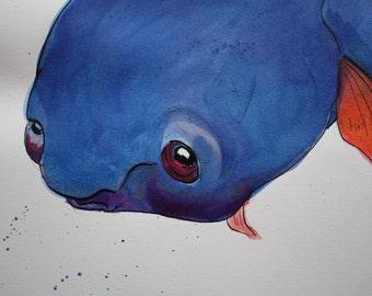 Blueish Blob Fish ink illustration by Karly Fae Hansen