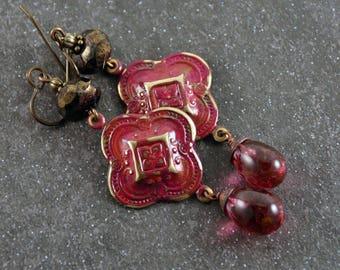Gypsy Red Patina Vintaj Charm Handmade Pink Red Lampwork  Wirewrapped Earrings