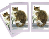 TABBY CAT (3) Single Swap Playing Cards Paper Ephemera Scrapbook