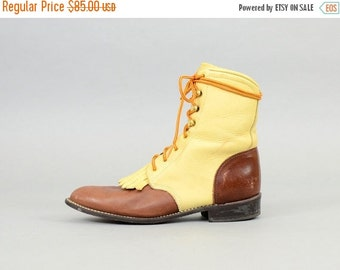 ANNIVERSARY SALE LEATHER Lace-up Boots Us 8.5