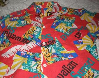 Vintage;Mens Cotton Hawaiian Med Short sleeve Button Shirt