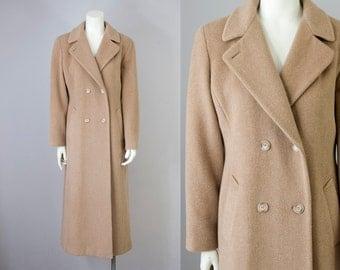 90s Vintage Anne Klein Camel Wool Mohair Minimalist Long Coat. Oversized Winter Jacket (S)