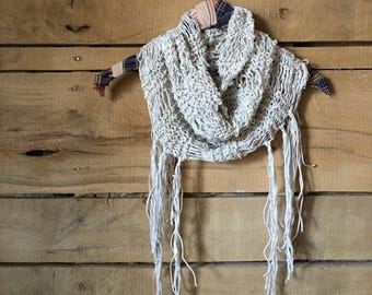 Knitted Cowl <<Appalachian Rambler>> Cotton | Hand knit | fringed scarf | cowl | light weight scarf