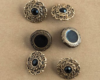 Mixed Fancy Button Lot of 6 Metal Antiqued Bronze Vintage Style Instant Collection Jewelry Making Craft Shabby Cottage Decor