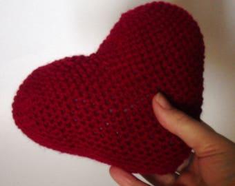 Red Amigurumi Heart, Crochet Heart, Valentine