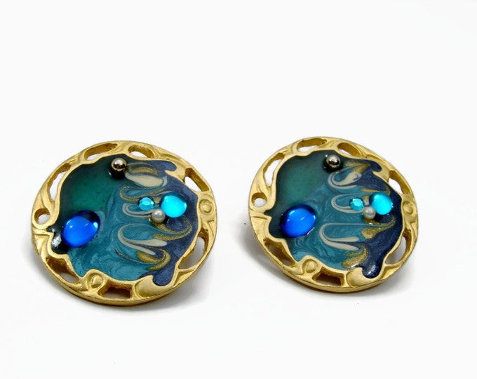 Vintage 80's Jeweled Enamel Clip On Earrings