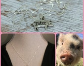 Hand Stamped Pig Necklace