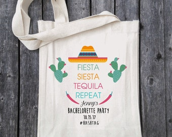 Mexican Bachelorette Party, Bachelorette Gift Bag, Mexico Bach, Bridal Party Gift Bag, Cactus and Succulents, Personalized Tote