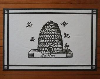 Sample 18th Century Bee Hive Dark Gray and White Floor Cloth