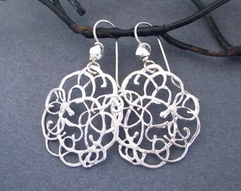 Silver Lace Earrings Silver filigree Earrings Abstract Modern Jewelry