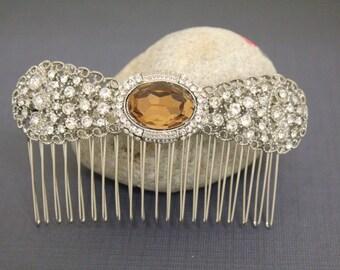 Light Smoked Topaz Wedding hair comb,Wedding hair accessories,Bridal hair clip,Wedding head piece,Bridal hair comb,Wedding hair jewlery,Clip