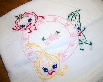 Dish Towel Dancing Veggies Aunt Martha's Dish Towel Tea Towel Cucumber, Tomato, Onion, Pink Plate Hand Embroidered Dish Towel