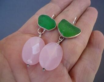 Gemstone and Sea Glass Earrings, Sterling Silver Earrings