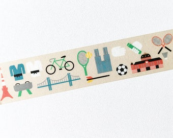 Masking tape limited edition, sport, activity, school, bicycle, tennis, football, bridge, brown, red, blue, washi tape, scrapbook, planner