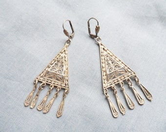 Boho Vintage Sterling Silver Filigree Dangle Earrings