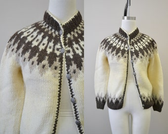 1970s Icewool Handknitted Cardigan Sweater