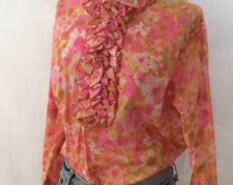 Vintage 60s Retro Floral Cotton Print Ruffle Shirt