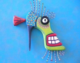 Stiletto Fish, Fish Wall Art, Original Found Object Wall Sculpture, Wood Carving, Shoe Art, by Fig Jam Studio