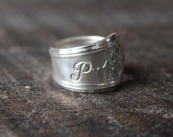 """Incredible Antique Spoon Ring Monogram """"P"""" Size 8.5 - FREE SHIPPING"""
