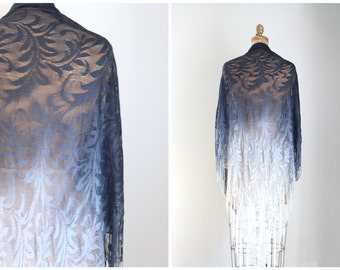 vintage 1970s ombre rayon shawl - modern flapper shawl / 70s lacey crochet piano shawl / slate blue & gray bohemian wrap - witchy shawl