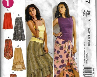 McCall's M6567 Misses Skirt Sewing Pattern 6567 UNCUT Boho Flounce Ruffle Size XS, S and M