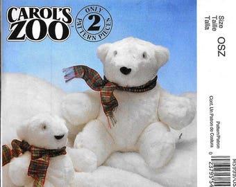 McCall's M5999 Carol's Zoo Crafts Plush POLAR BEAR Stuffed Animal Sewing Pattern UNCUT