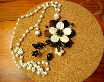Fetching Agate, AB Crystals, White & Black MOTHER of PEARL Freshwater Pearl Flower Pendant on White Pearl Rosary Chain w/Mosaic Shell Rounds