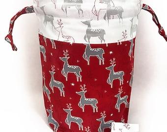 "New! ""Christmas Deer"" Large Drawstring Project Bag"