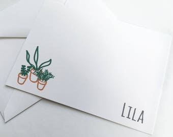 Personalized Stationery -- The Wee Plants -- LILA -- Contemporary Stationery Set of Custom Notes & Envelopes- CHOOSE your QUANTITY
