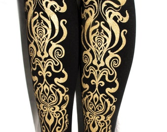 Art Nouveau Printed Tights Small Medium Gold on Black 80 D Mucha Pattern Arty Street Style Leg Wear