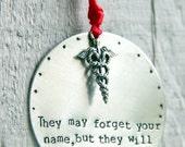 SALE Nurse Ornament / Baby Nurse / Gift for Nurse / Nurse Gift/ Nurse Practitioner Ornament / Medical Sheild/ Doctor Ornament/ Doctor Gift