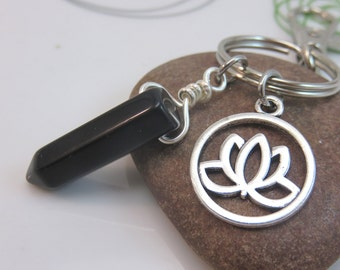 black onyx keychain - black gemstone keyring - point crystal keychain - lotus flower keychain lotus bag charm silver with swivel clasp